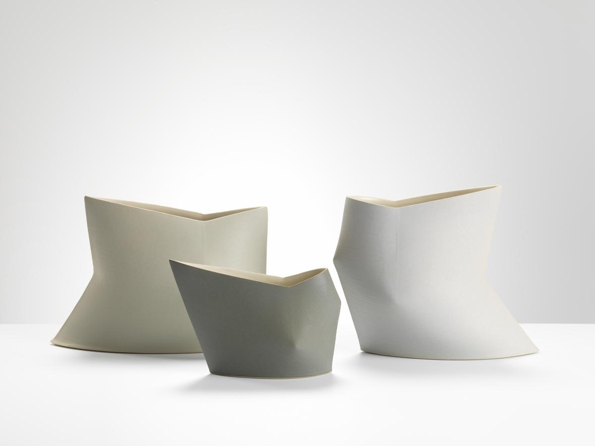 Sun Kim, Geometric vases, High fired stoneware, 2016