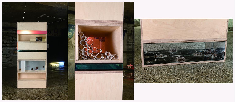 Jin Kim, Vivid days blurry times, Birch plywood, mirror, plexiglass, light, photo, dust, hair dust, rollerq-tips, 207x92x31cm, 2016