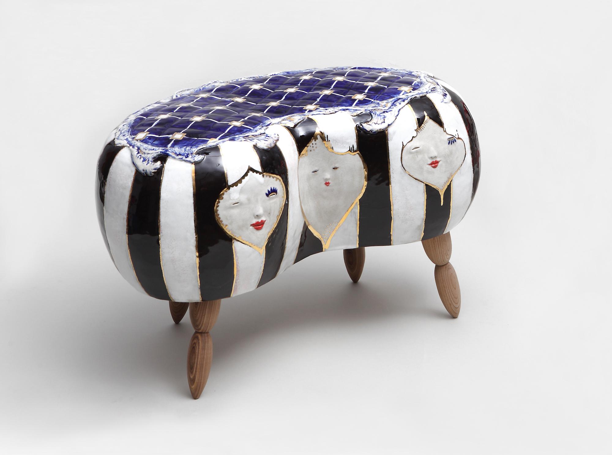Jung Eun Han, Face stool series,Ceramic & Wood, 35x55x30cm, 2015