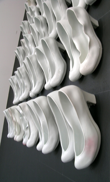 "Veronica Juyoun Byun, Memoirs of Lady, 60""H x 40""W x 4"" D, Slip-Cast Porcelain, Reduction fired"
