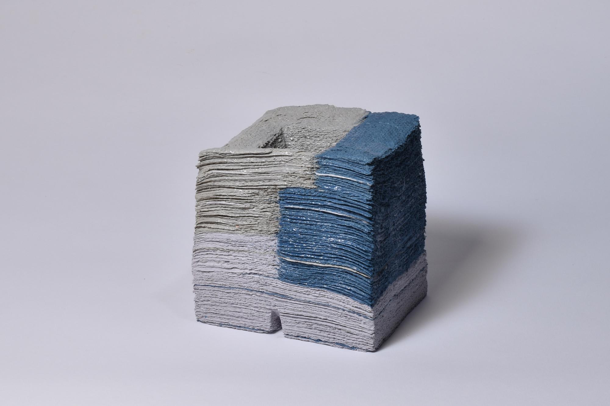 Jongjin Park, Artistic Stratum_L4VB4G4, 700 sheets of tissue paper, porcelain with colour stain Dimensions: 11x12x13cm, 2016