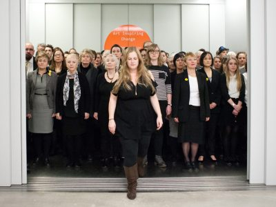 Emily Peasgood_LIFTED_choral happening in public lifts_photo Lee Thompson 2016
