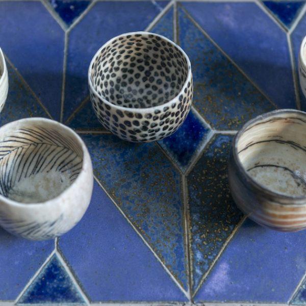 JOY Priscilla Mouritzen pinch bowls on Blues Room hearth The Ceramic House