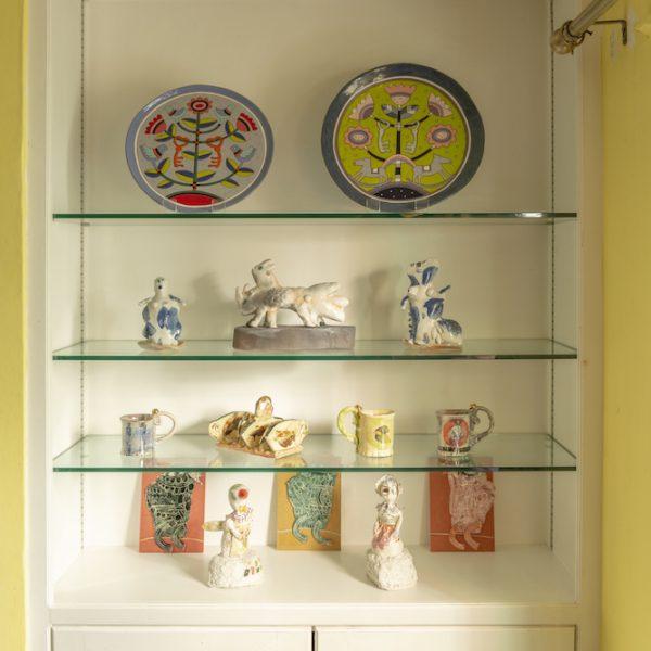 Kitchen glass shelves view