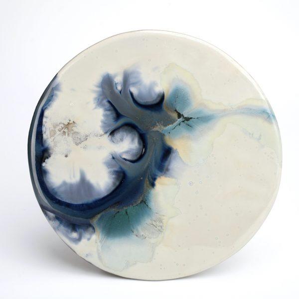 Phoebe Jiakun, Quiet Contentment no. 2, high temperature ceramic painting, 21cm diameter, 2016