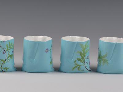 Yanze Jiang, Beijing Cloth, Bone China, cup 7.5cm high, 2015, photo Yanze Jiang.JPG
